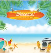 Beach things and old surfboard with greeting - summer holidays vector illustration.