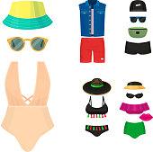 Beachwear bikini cloth fashion looks vacation lifestyle women collection sea light beauty clothes vector illustraton. Travel different flat vector summer male female swimsuit icons.
