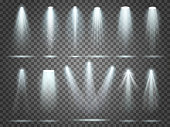Beam of floodlight, space illuminators lights effects, stage illumination spotlight. Night club party floodlights on scene and white spotlights lighting interior vector realistic 3d set