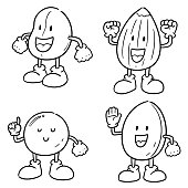 vector set of beans cartoon