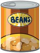 Beans in aluminum can illustration