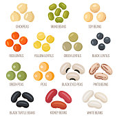 Vector set of legumes. Flat style.