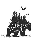 Silhouette of a wild bear, fir tree and calligraphy. Wild life in nature.