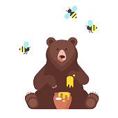 Vector flat style bear character eating sweet honey. Isolated on white background.