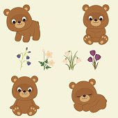 Bear cubs and Spring flowers. Brown baby bears in different poses. Spring flowers: bluebells, anemones, snowdrops, crocuses. Vector illustration