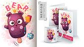 Bear ice cream - mockup for your idea. Vector eps 10
