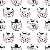 vector seamless pattern with cute bear heads in crown