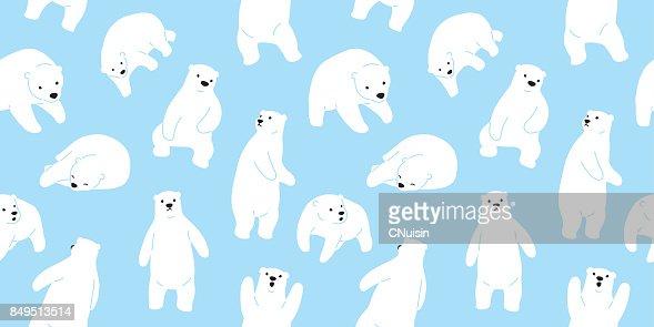 Bear Polar Bear Teddy Doodle Vector Seamless Pattern Wallpaper