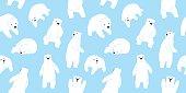 Bear polar bear teddy doodle vector seamless pattern wallpaper background