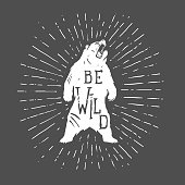 Bear vintage illustration with slogan in vector