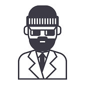 beard man in suite vector line icon, sign, illustration on white background, editable strokes