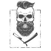 Bearded skull illustration in vector