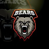 Mascot grizzly bear logo for a sport team. Vector illustration.
