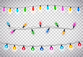 Beatiful Christmas Lights on Transparent Background