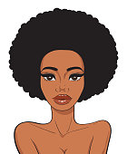 Beautiful african american woman face with afro hair in pop art comics style isolated on white background. Beauty and fashion african girl.