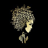 Beauty and hair salon vector illustration in Afro style