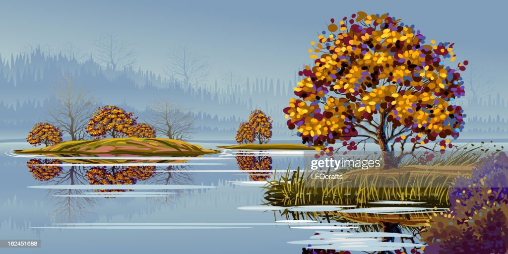 Beautiful Autumn landscape : Vector Art