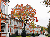 Beautiful Autumn leaves and city. Building. Architecture. Background vector illustration