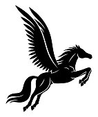 Beautiful black Pegasus sign on a white background.