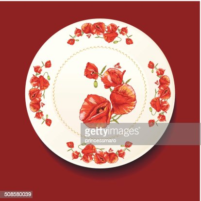Beautiful bouquet of red poppy on a white plate : Vektorgrafik