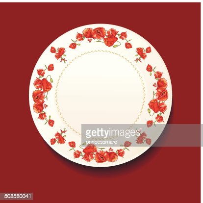 Beautiful bouquet of red poppy on a white plate : Vectorkunst