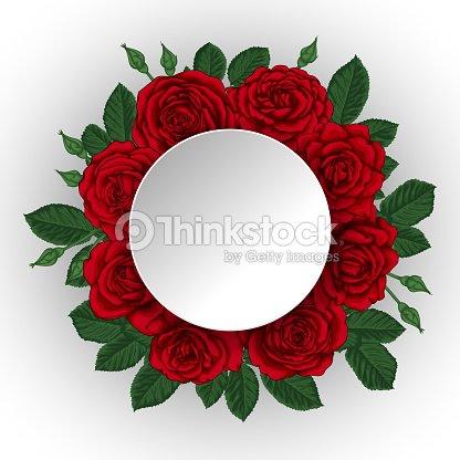 Hermoso Ramo Con Rosas Rojas Y Hojas Arreglo Floral Marco De Papel ...