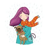 Beautiful cartoon girl and pug. Cute dog. Autumn theme. Hand drawing isolated objects on white background. Vector illustration.