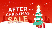After Christmas sale design  banner with fir tree and gifts on winter landscape background
