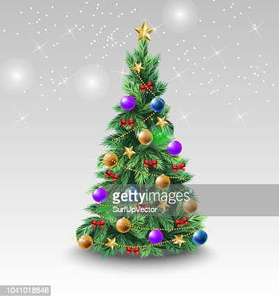 Beautiful Christmas tree with colorful balls : Vector Art