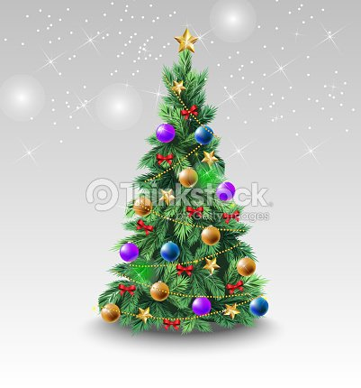Beautiful Christmas tree with colorful balls : stock vector