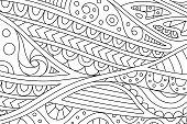 Beautiful coloring book page with decorative abstract pattern