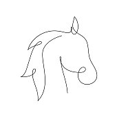 Beautiful continuous line horse art design vector illustration isolated on white background.