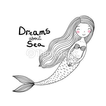 Coloriage Queue De Sirene.Sirene Dessin Anime Mignon Beau Avec Les Cheveux Longs Sirene Theme