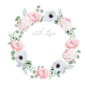 Beautiful delicate peony, anemone, rose, brunia flowers and eucalyptus leaves round vector frame. All elements are isolated and editable.
