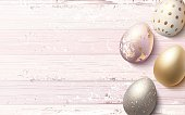 Beautiful easter golden eggs on pink shabby wooden background. Vector illustration