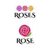 Beautiful emblem with rose for flower shop or beauty salon.