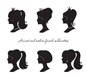 Beautiful female silhouettes set. Modern and ancient young woman profiles. Isolated on white. Vector.