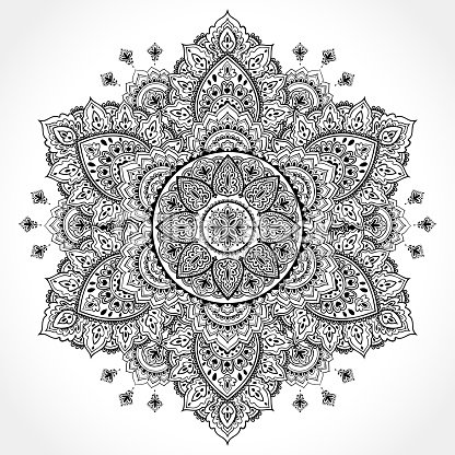 Beautiful Filigree Indian Floral Ornament Ethnic Mandala Henna