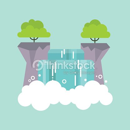 Beautiful flat waterfall landscape. Nature. Tourism / flat editable vector illustration, clip art