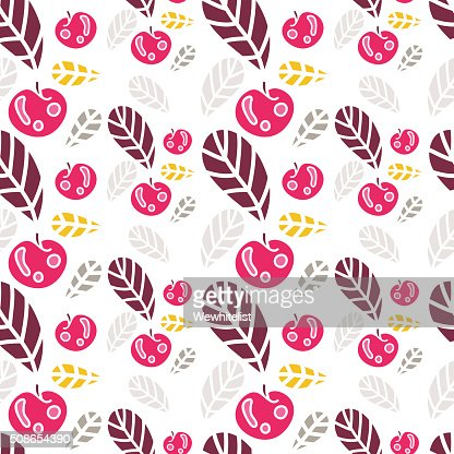 Beautiful floral Seamless pattern. Background of colored leaves and apples. : Vector Art
