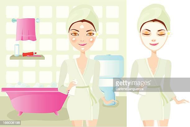 Schöne Mädchen Anwendung Creme und Gesichtsmaske auf Gesicht