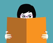 Vector illustration of the beautiful girl face behind big book