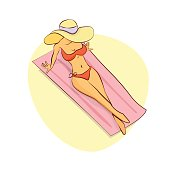 Beautiful girl sitting on a towel in swimsuit or bikini and hat. Pretty woman sunbathing on beach. Summer weekend or holiday vacation in vector cartoon style.