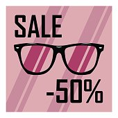 Poster of glasses with transparent glasses on the background of purple stripes, discounts, sales, cheap, sale of sunglasses