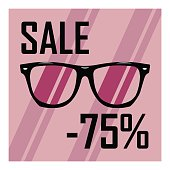 Icon of glasses with transparent glasses on the background of purple stripes, discounts, sales, cheap, sale of sunglasses