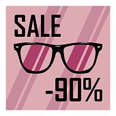 Picture of glasses with transparent glasses on the background of purple stripes, discounts, sales, cheap, sale of sunglasses