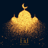 beautiful glowing mosque made with sparkles background