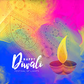 beautiful happy diwali watercolor background design