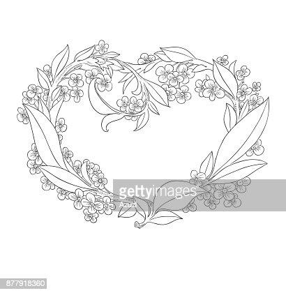 Fleurs De Saintvalentin Coeur Belle Decoration Encre De Dessin