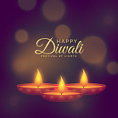 beautiful illustration of burning diya for diwali festival celebration
